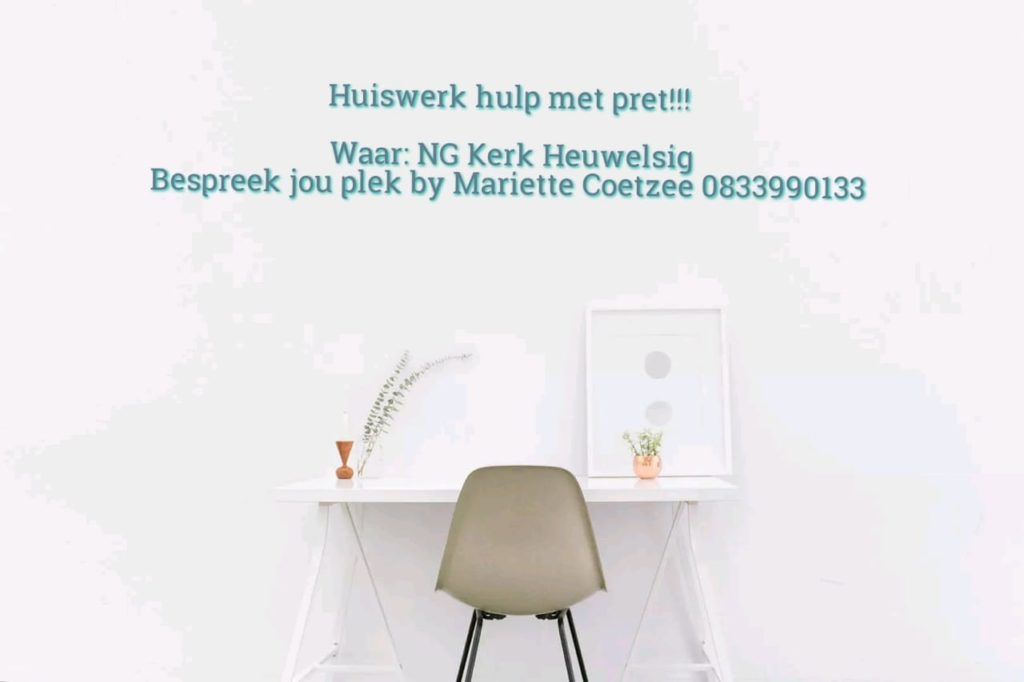 Homework help at NG Church Heuwelsig. Contact Mariette Coetzee at 0833990133