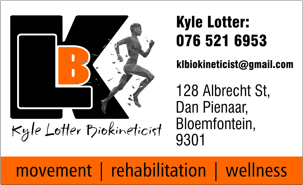 Kyle Lotter biokineticist specialising in movement, rehabilitation and wellness. Situated at 128 Albrecht Street, Dan Pienaar, Bloemfontein. Contact at 0765216953 or klbiokineticist@gmail.com