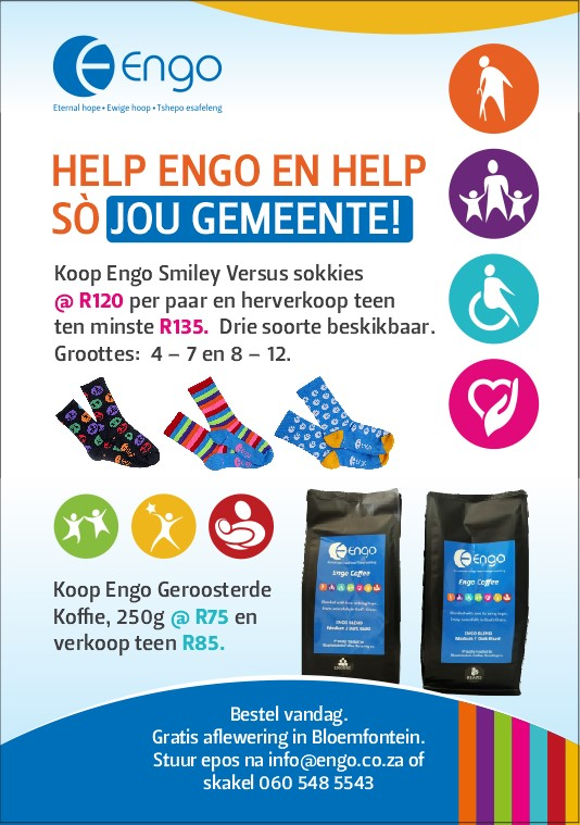 Help Engo and your church. Buy Engo smiley versus socks for 120 rand and resell for at least 135 rand. Three different designs with two sizes, 4 to 7 and 8 to 12. Also, buy Engo 250 gram roasted coffee beans for 75 rand and resell for at least 85 rand. Contact 060 548 5534 or info@engo.co.za.