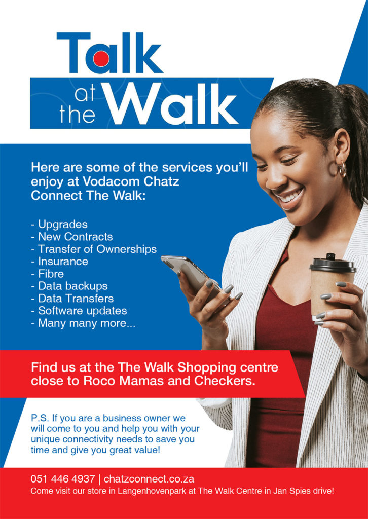 Visit Talk at the Walk for all your Vodacom and other cellular needs. Located at The Walk shopping centre in Langenhovenpark. Visit chatzconnect.co.za or call 0 5 1 4 4 6 4 9 3 7